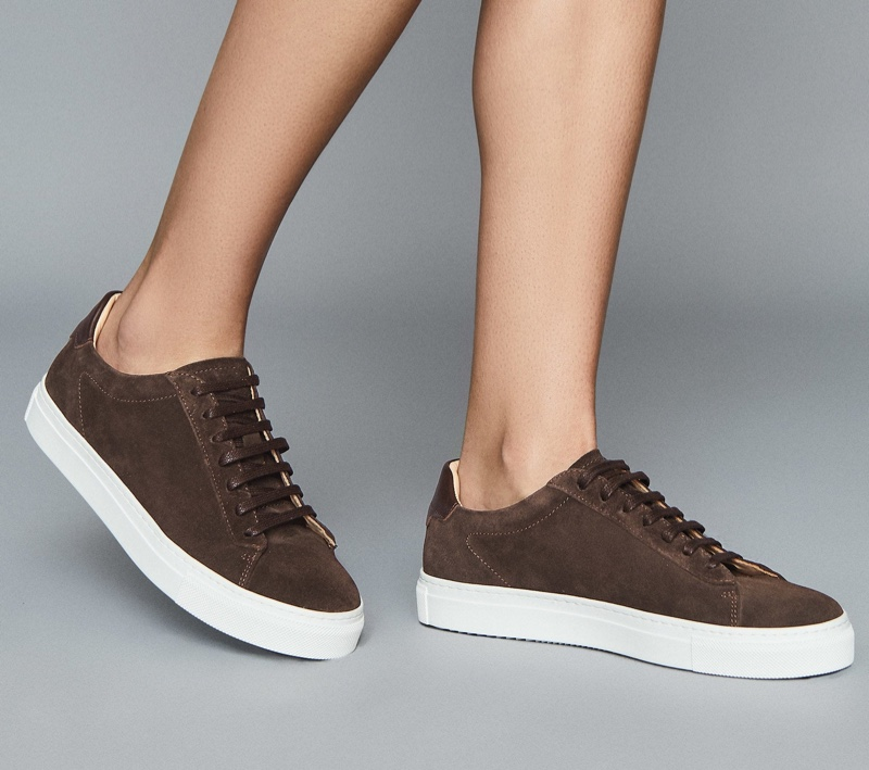Reiss Finley Suede Contrast Sole Trainers in Chocolate $195
