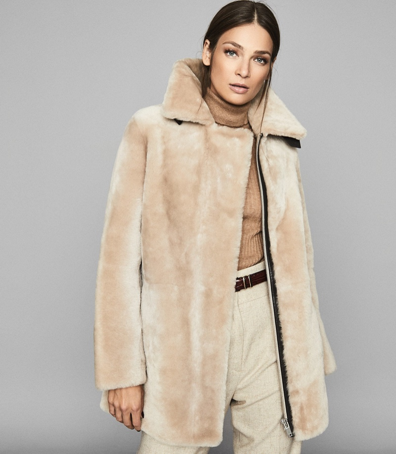 Reiss Izzie Mid Length Shearling Coat $1,875