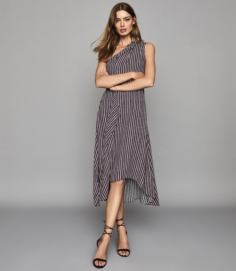 Reiss Nia Printed Asymmetric Midi Dress $370
