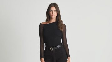 Reiss Willow Off-the-Shoulder Sheer Sleeve Top $245