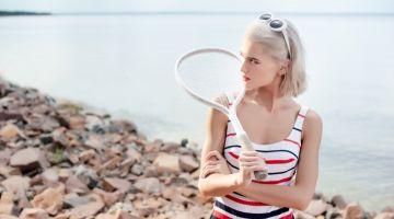 Retro Beach Fashion Model Striped Swimsuit Tennis Racket