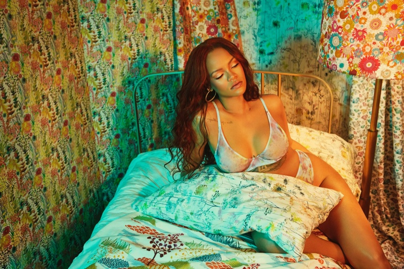 Lounging in bed, Rihanna wears Savage x Fenty August 2019 lingerie drop