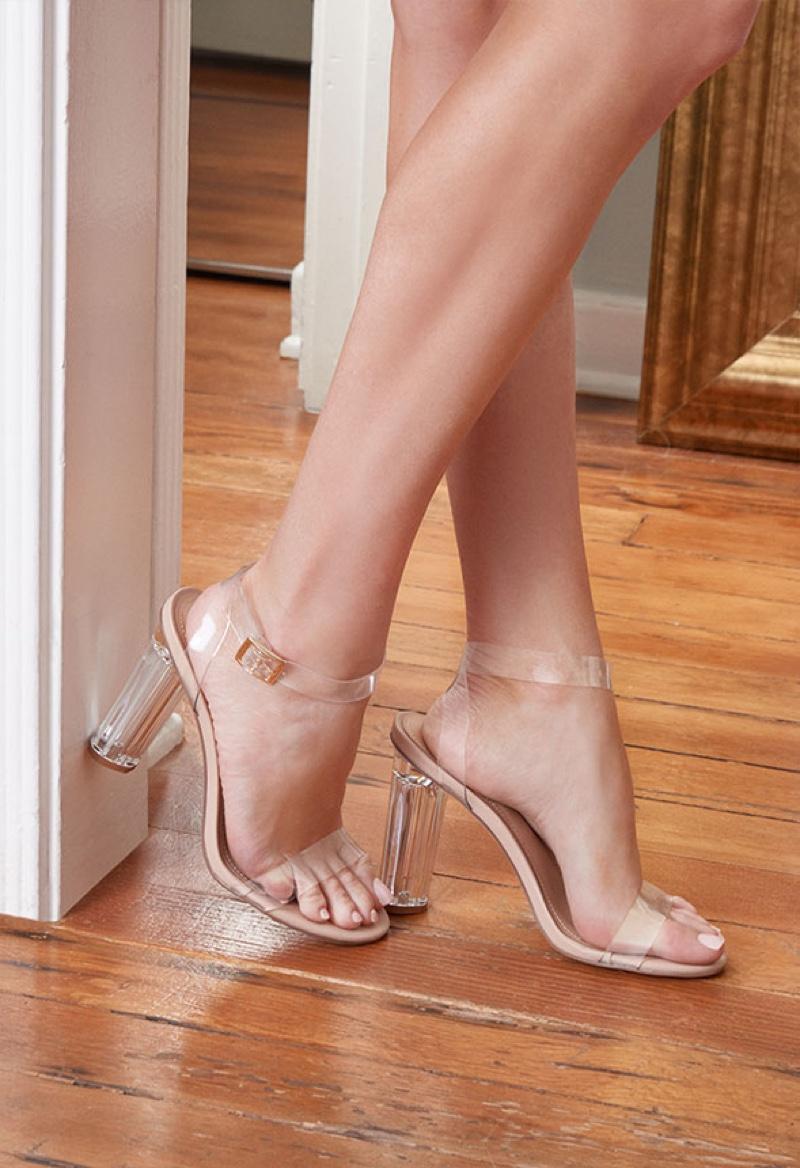 Stassi Schroeder x JustFab Hanna Transparent Heeled Sandal