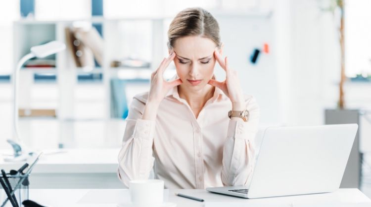 Stressed Woman Workplace Office Laptop
