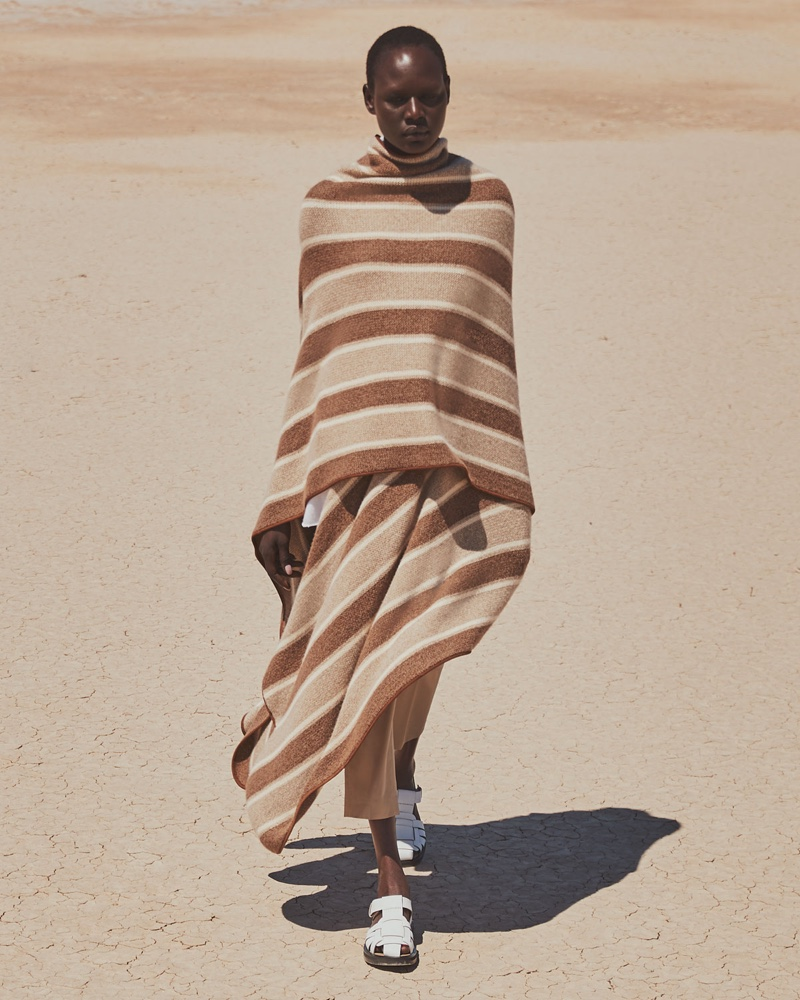 The Row Merlyn Striped Superfine Cashmere Cape $4,790 and Gaia 2 Sandals $990