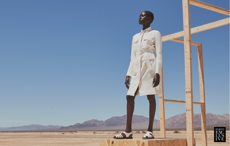 The Row Loeb Linen Belted Shirtdress $2,590 and Gaia 2 Sandals $990