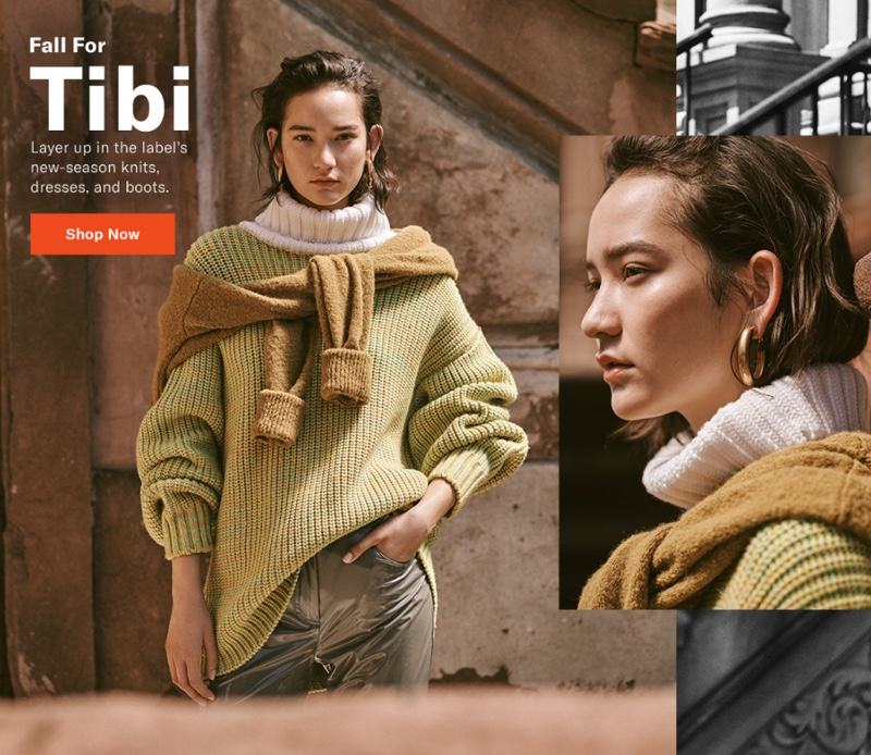 Tibi Oversized Turtleneck Pullover $695, V-Neck Pullover with Arm Band Cuffs $395 and Skinny Trouser Jeans $495
