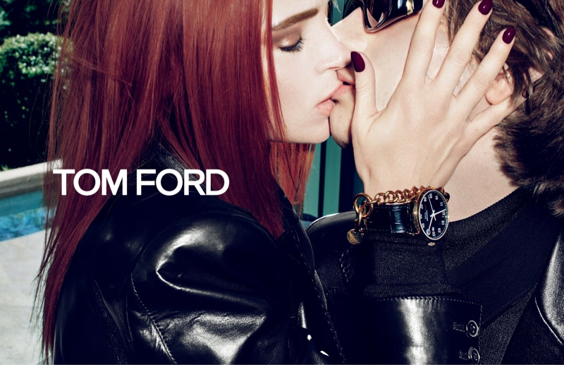 Mariacarla Boscono and Erik van Gils share a kiss in Tom Ford fall-winter 2019 campaign