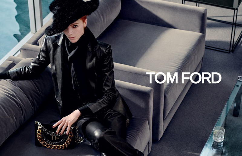 Dressed in black, Mariacarla Boscono fronts Tom Ford fall-winter 2019 campaign