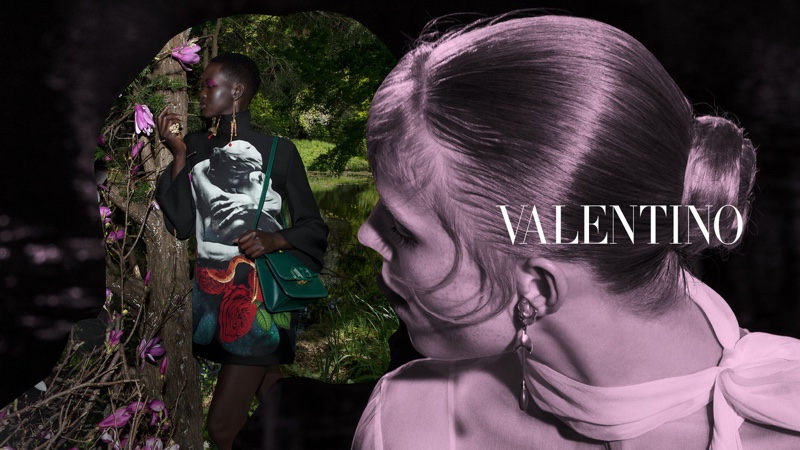 Adut Akech and Rianne van Rompaey star in Valentino fall-winter 2019 campaign