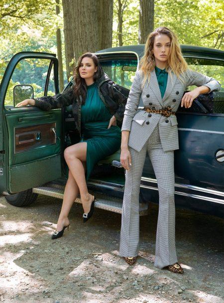 Hannah Ferguson & Candice Huffine Front Veronica Beard Fall '19 Campaign
