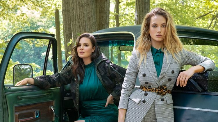 Hannah Ferguson & Candice Huffine Front Veronica Beard Fall '19 Campaign