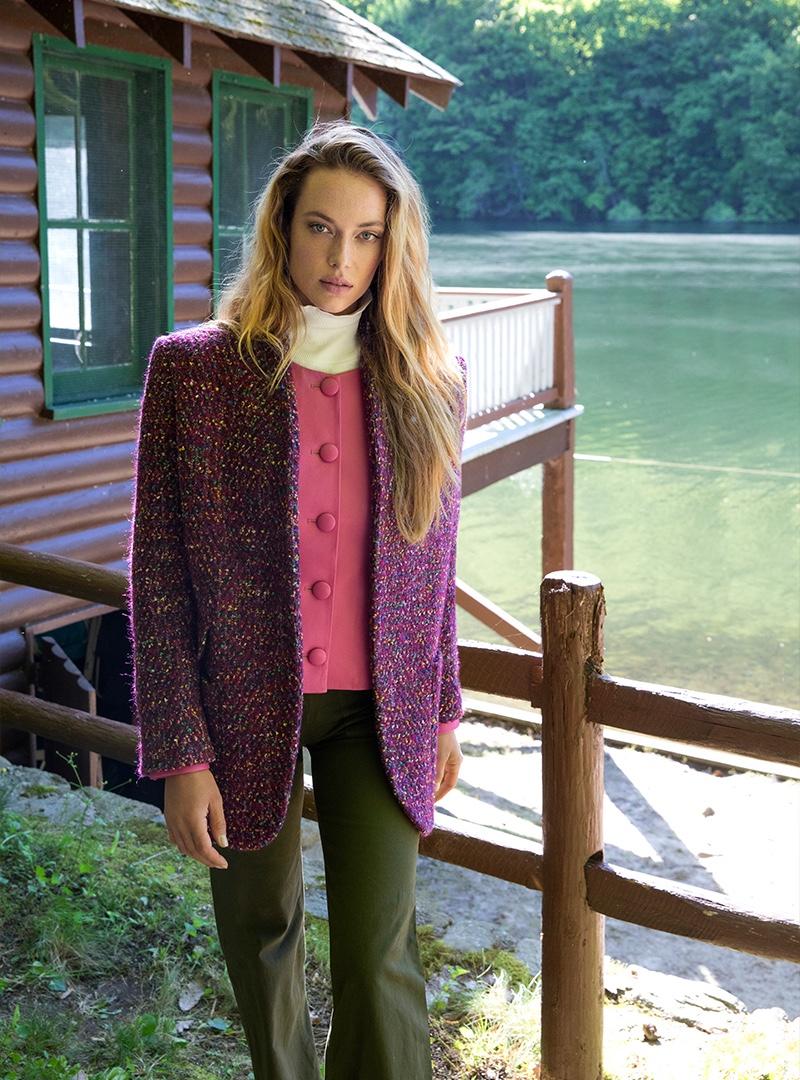 Model Hannah Ferguson appears in Veronica Beard fall-winter 2019 campaign