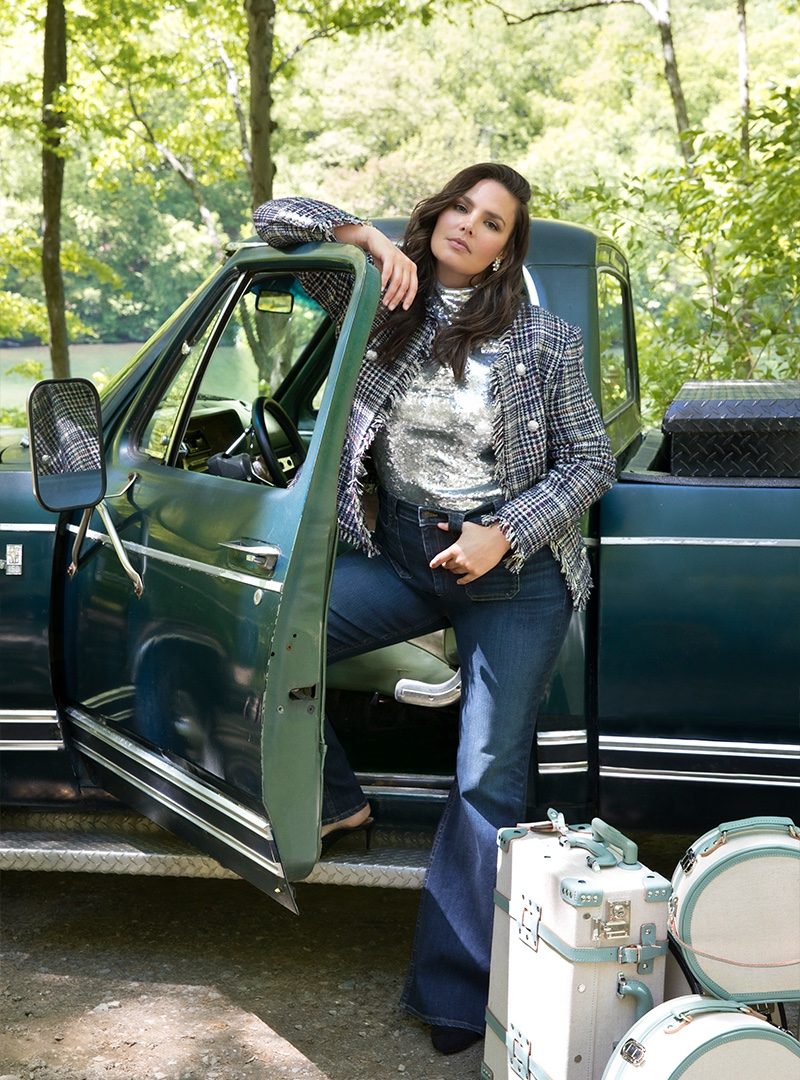 Posing outdoors, Candice Huffine appears in Veronica Beard fall-winter 2019 campaign