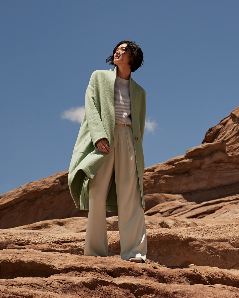 Vince Collarless Long Wool Coat $695, Shaker Rib Cashmere Sweater $365 & Wide-Leg Pleated Pull-On Pants $295