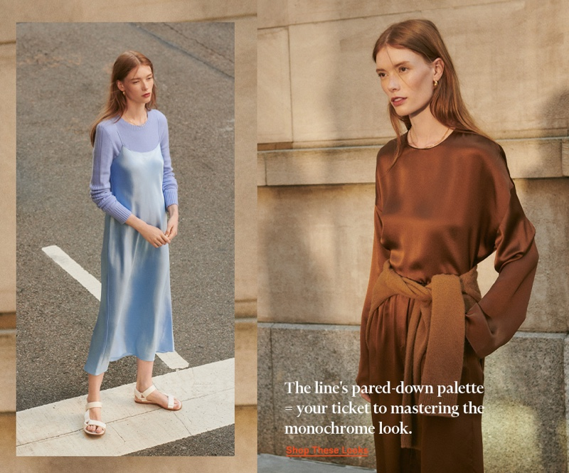 (Left) Vince Runner Rib Cashmere Sweater $325, Slip Dress $285 and Parks Sandals $195 (Right) Vince Long Sleeve Blouse $295, Satin Shorts $265 and Shrunken Button Cashmere Cardigan $375