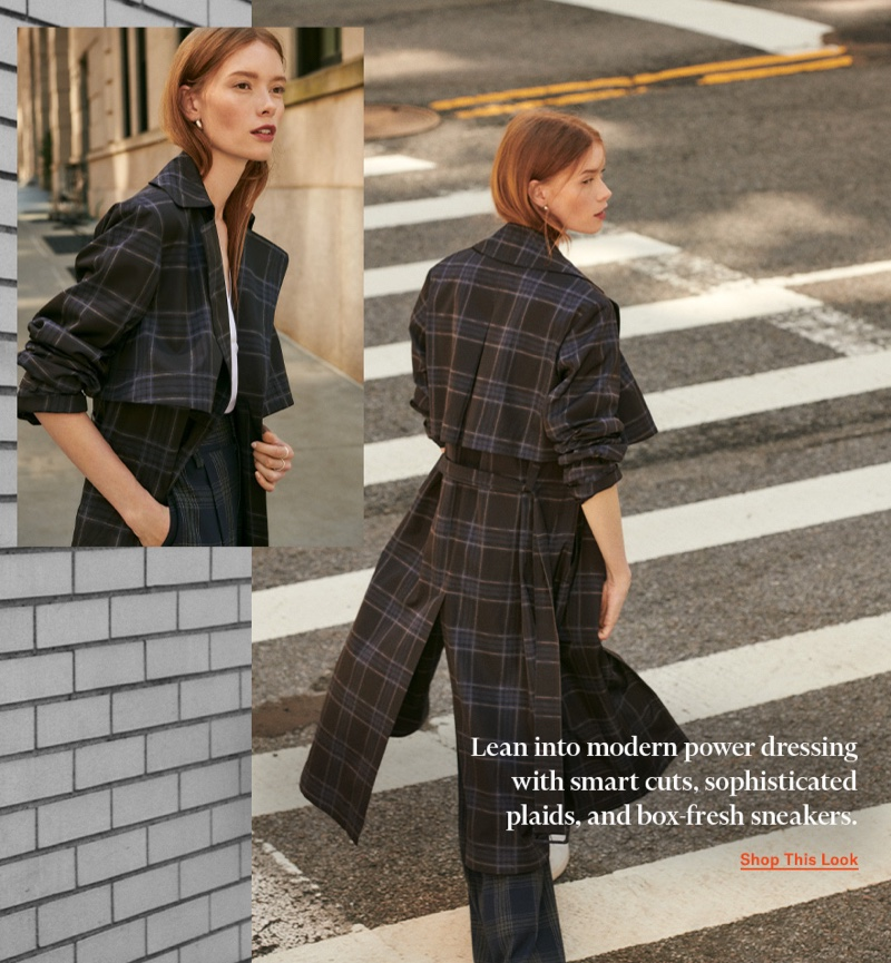 Vince Plaid Trench $675, Plaid Wide Leg Pants $365 and Shirred V Neck Blouse $295