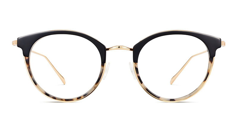 Warby Parker Faye Glasses in Layered Onyx Tortoise with Polished Gold $145