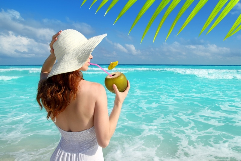 Woman Drinking Coconut Mexico Beach Hat White Dress