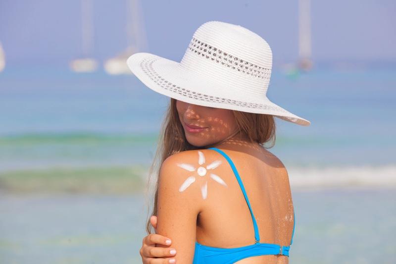 Woman Mallorca Beach Bikini Sunhat