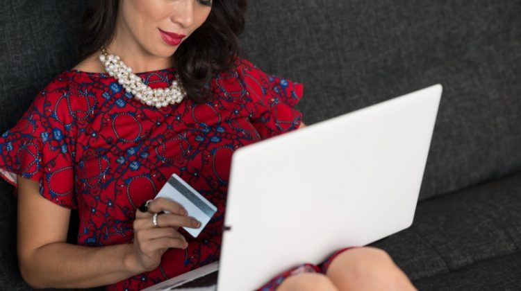 Woman Shopping Laptop Credit Card Dress