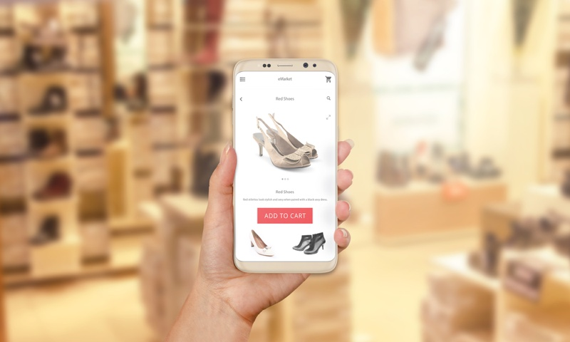 Woman Shopping Shoes Phone