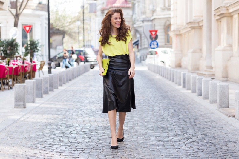 Woman Street Style Neon Green Top Bag Leather Skirt Black