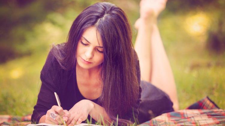 Woman Writing Notebook Outdoors Brunette Dress
