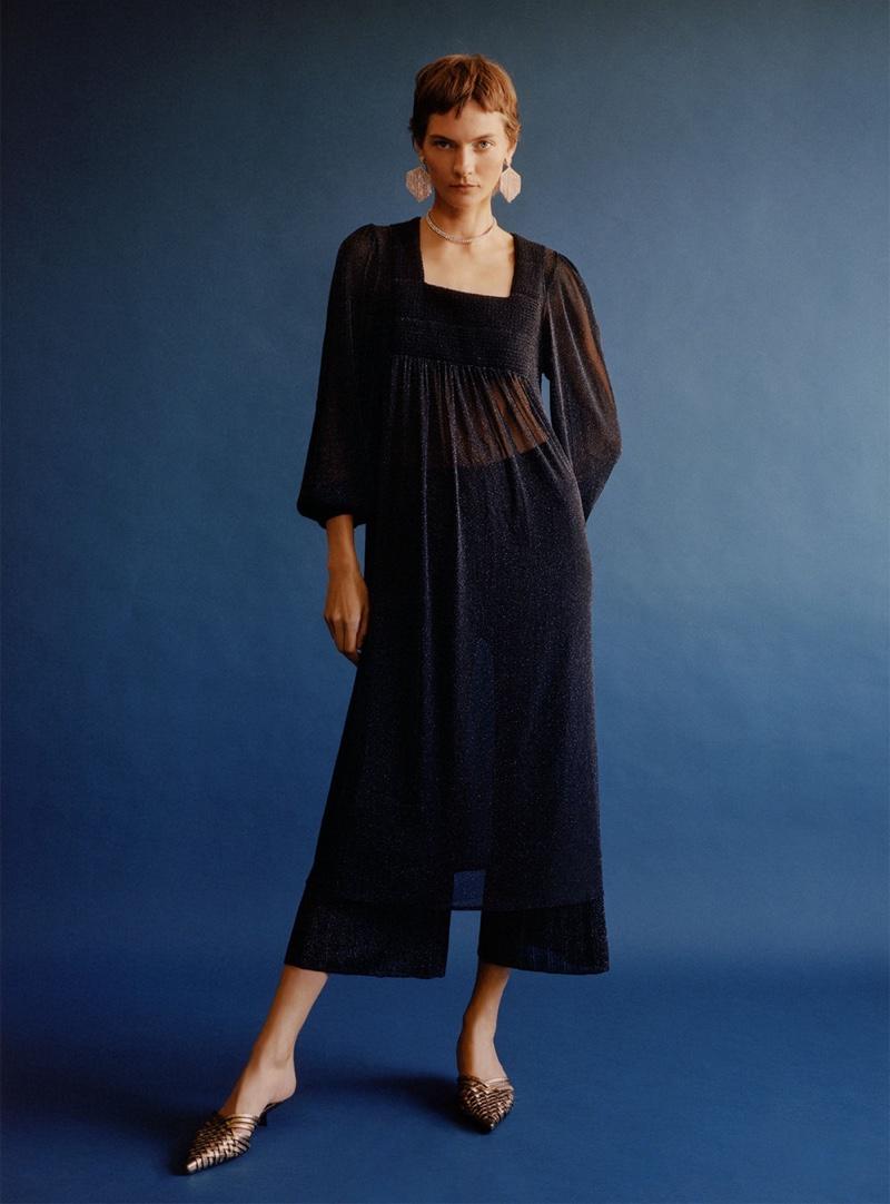 Zara Dress with Metallic Thread, Pants with Metallic Thread, Metallic Woven Heeled Mules and Sparkly Bejeweled Earrings