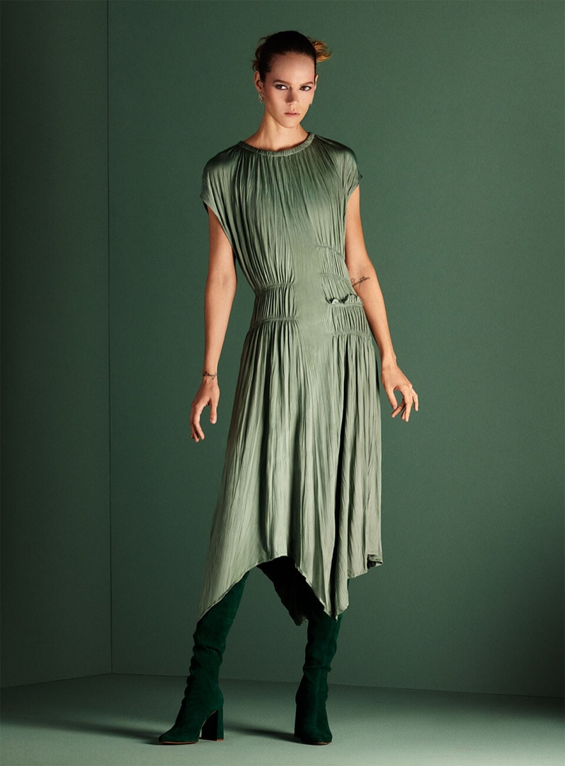 Zara Wrinkle Look Dress, Over The Knee Suede Heeled Boots and Sparkly Earrings