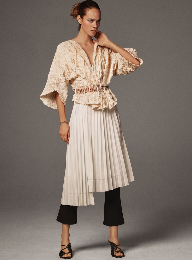 Zara Voluminous Wrinkle Effect Top, Pleated Asymmetrical Skirt, Flared Leggings and Gathered Leather High Heeled Sandals