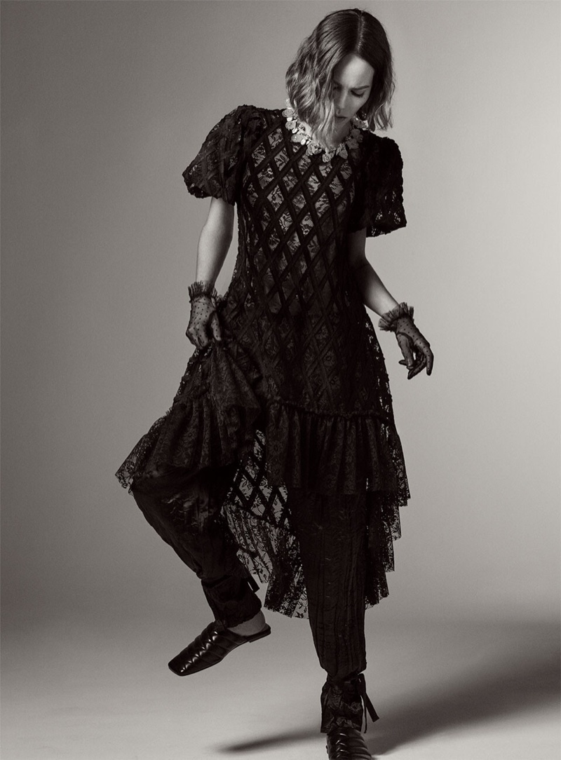 Zara Asymmetrical Lace Dress, Wrinkled Satin Effect Pants and Quilted Leather Mules