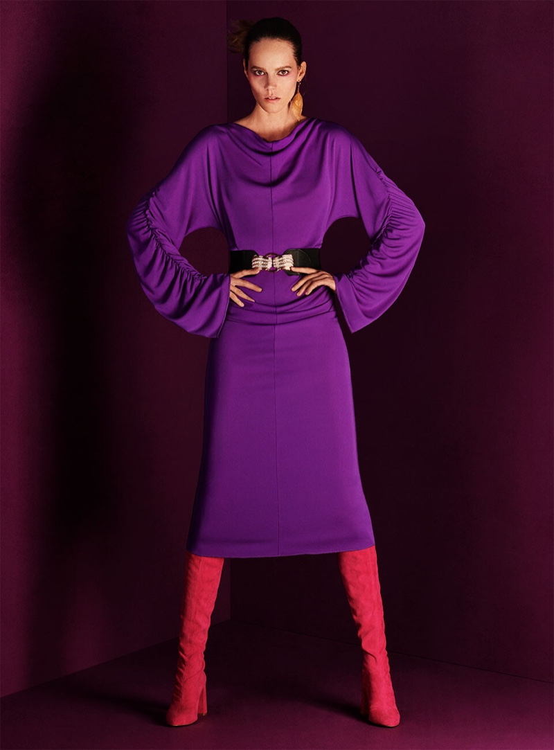 Zara Gathered Midi Dress, Over The Knee Suede Heeled Boots and Stretch Belt with Brooch Buckle