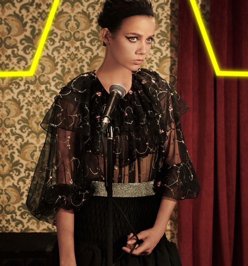 Zara Embroidered Tulle Top, Ruffled Mini Skirt, Satin Headband and Sparkly Belt