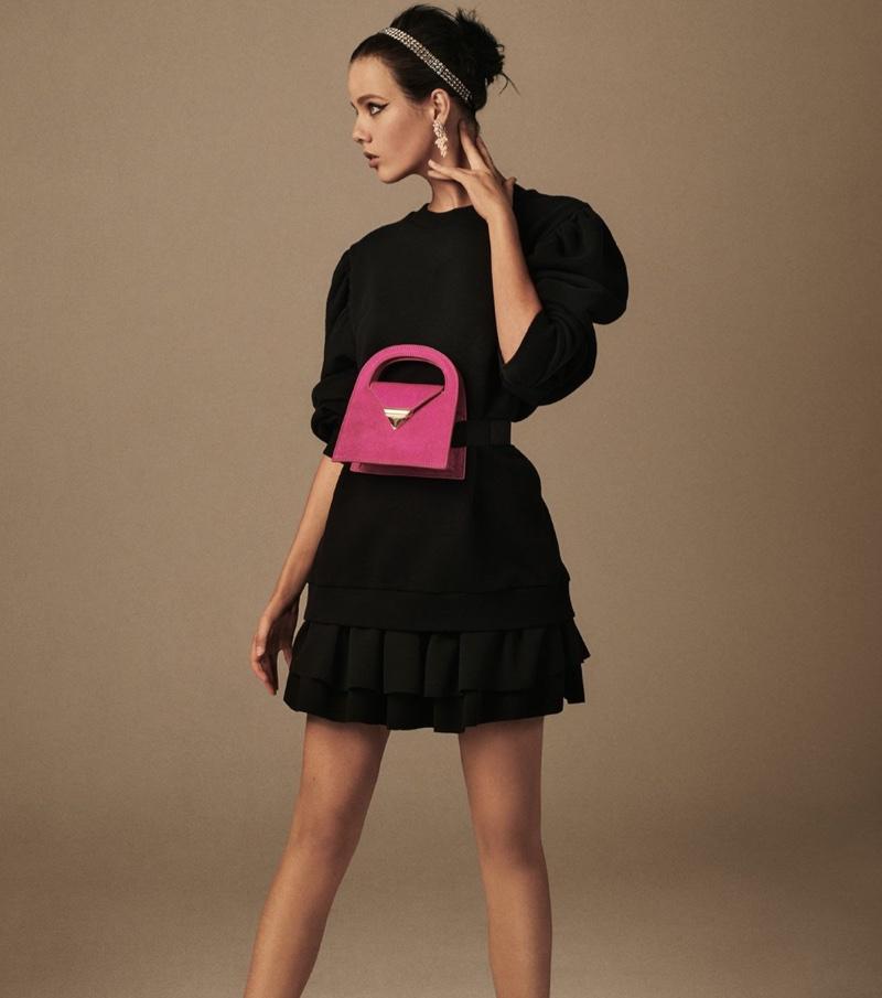 Zara Voluminous Sleeve Sweatshirt, Ruffled Mini Skirt and Leather Mini City Bag