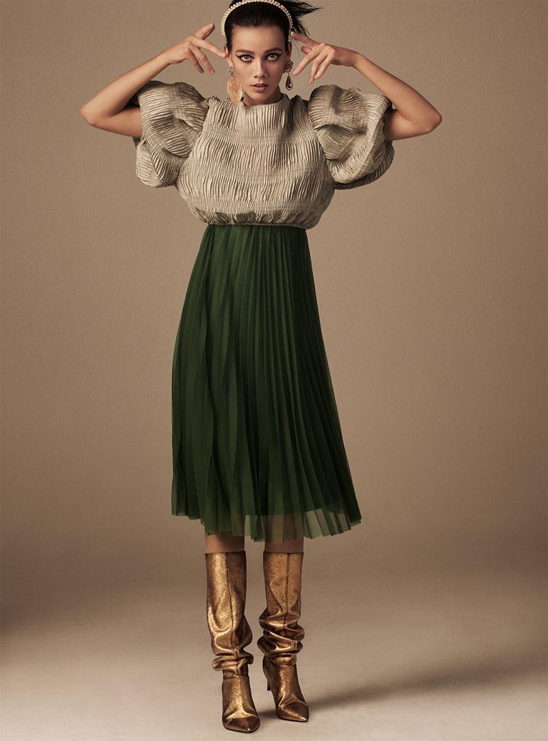 Model Marjan Jonkman wears bold styles from Zara