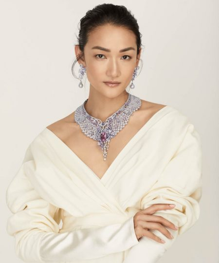 Ai TominagaGlitters in Mikimoto Jewelry for Vogue Japan