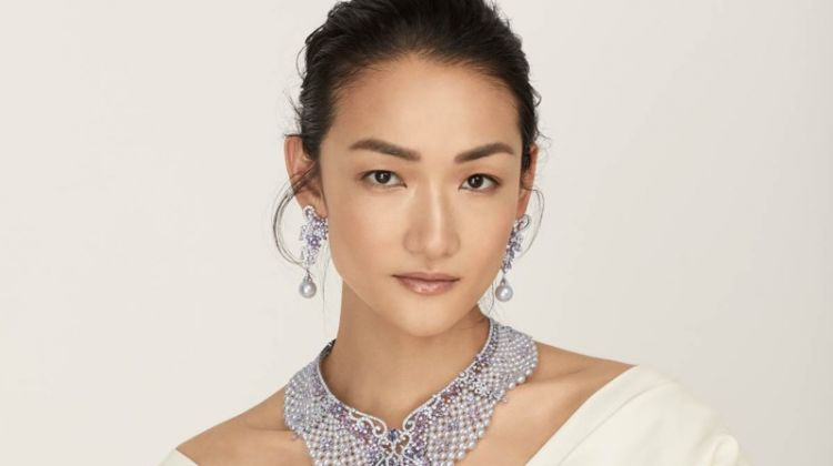 Ai Tominaga Glitters in Mikimoto Jewelry for Vogue Japan