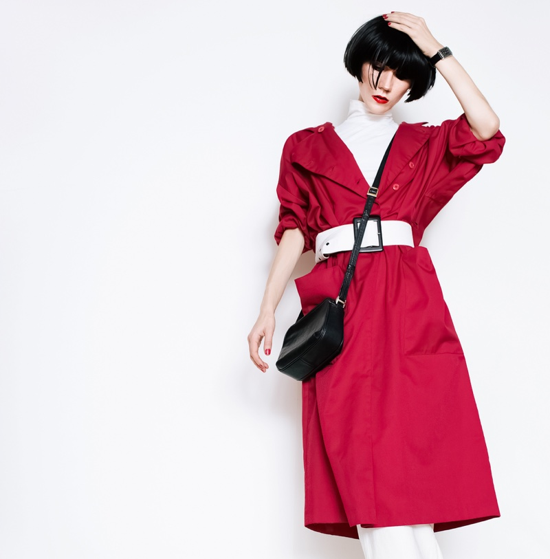 Asian Model Red Coat Stylish Bag
