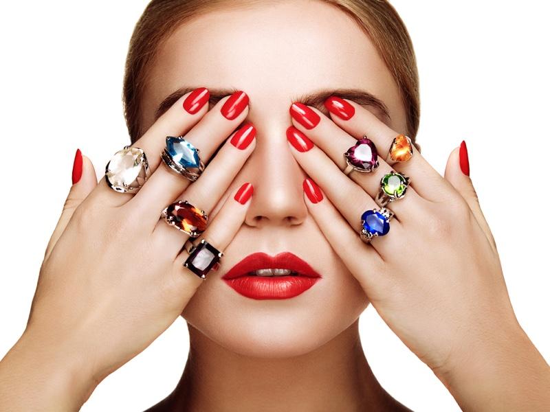 Beauty Jewelry Colored Diamonds Hands Nails Jewelry