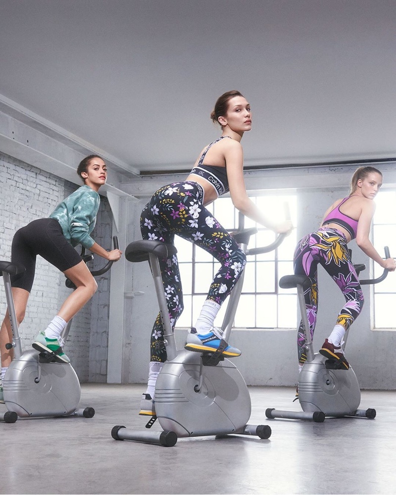 Alanna Arrington, Bella Hadid and Abby Champion hit exercise bikes in Calvin Klein Performance fall-winter 2019 campaign