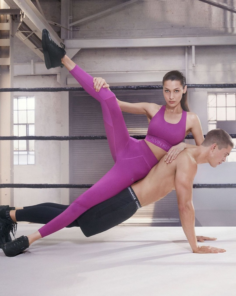 Rocking a purple style, Bella Hadid fronts Calvin Klein Performance fall-winter 2019 campaign