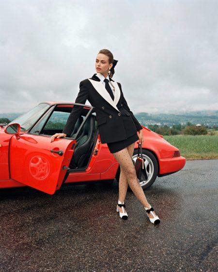 Birgit Kos Wears Ladylike Looks for Interview Magazine