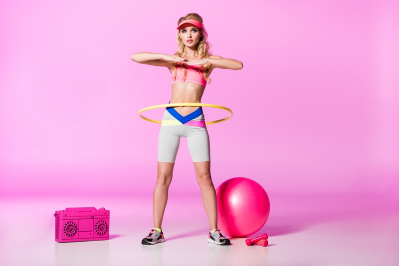 Blonde Model Working Out Hula Hoop Activewear Pink