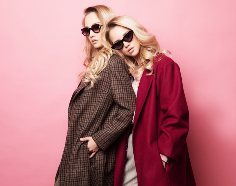 Blonde Models Fall Coats Plaid Red Sunglasses
