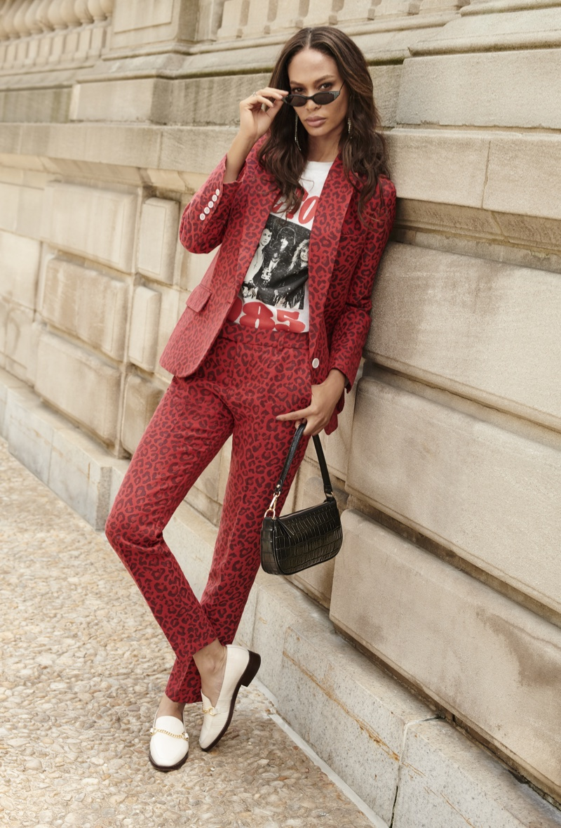 Model Joan Smalls suits up in Bloomingdale's Mix Masters fall 2019 campaign