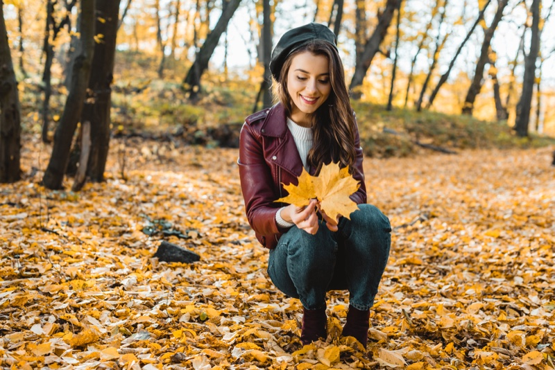 Brunette Girl Leather Jacket Purple Beret Jeans Fall Leaves Outdoors