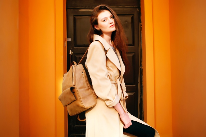 Brunette Model Backpack Trench Coat Fashion