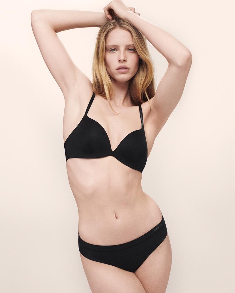 Abby Champion wears black lingerie for Calvin Klein Underwear fall-winter 2019 campaign