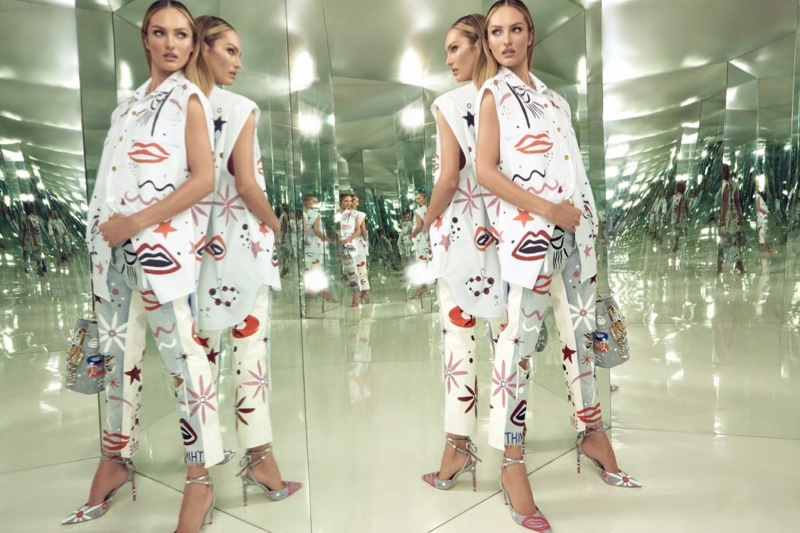 Posing with mirrors, Candice Swanepoel fronts Animale Surreal campaign